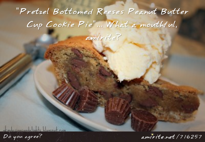 &#34;Pretzel Bottomed Reeses Peanut Butter Cup Cookie Pie&#34;... What a mouthful, <strong>amirite?</strong>