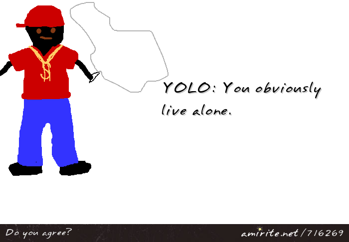 YOLO: You obviously live alone. <strong>amirite?</strong>