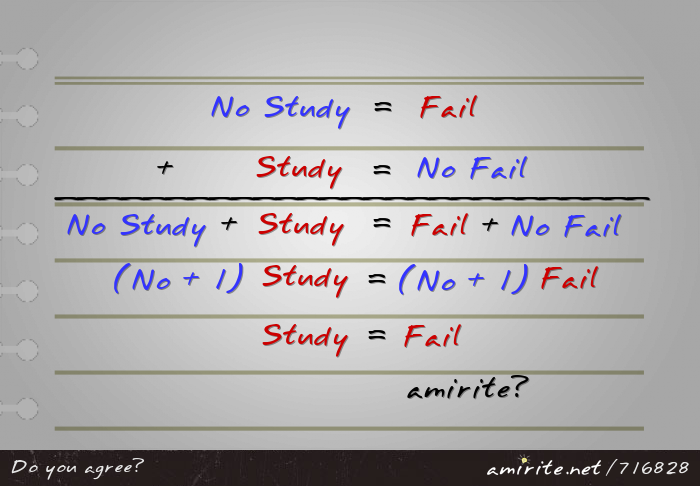 No Study=Fail. Study=No Fail. So, No Study+Study=Fail+No Fail. Then, (No+1)Study=(No+1)Fail. Therefore, Study=Fail. <strong>amirite?</strong>
