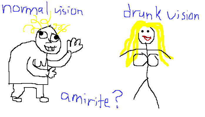 Difference between normal vision and drunk vision, <strong>amirite?</strong>