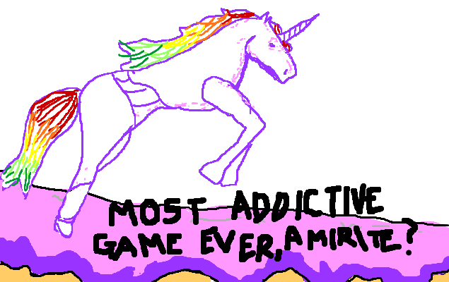 Robot Unicorn Attack is the most addictive game ever, <strong>amirite?</strong>