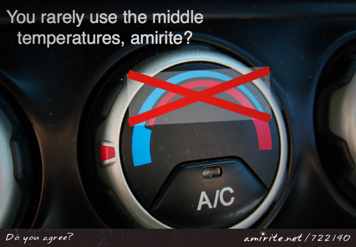 When changing the car's air temperature, you rarely use the middle settings. <strong>amirite?</strong>