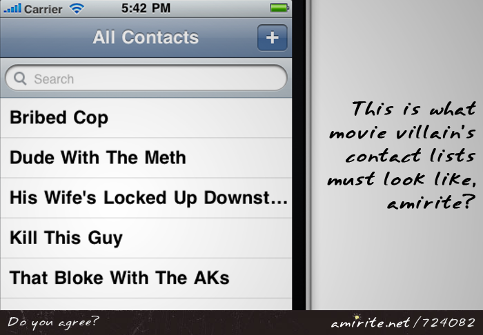 The contact list of movie villain&#8217;s phones must be funny to read, <strong>amirite?</strong>