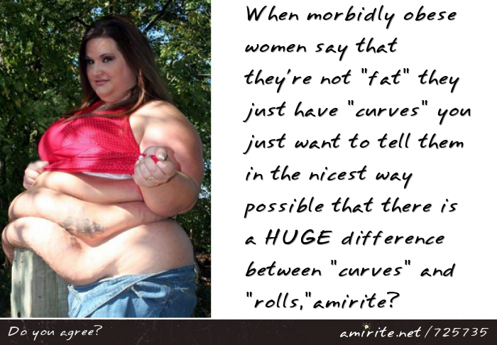 When morbidly obese women say that they're not &#34;fat&#34; they just have &#34;curves&#34; you just want to tell them in the nicest way possible that there is a HUGE difference between &#34;curves&#34; and &#34;rolls&#34;, <strong>amirite?</strong>