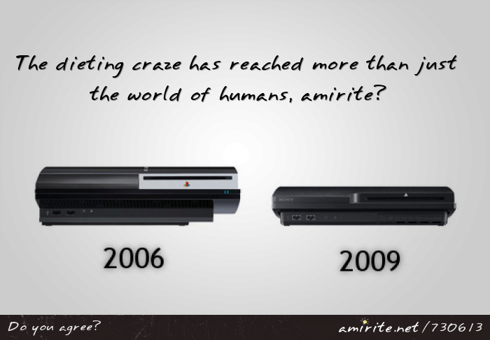 With the newer, thinner, laptops, and the &#34;slim&#34; version of the PlayStation 3, it's clear that the dieting craze has reached more than just the world of humans, <strong>amirite?</strong>