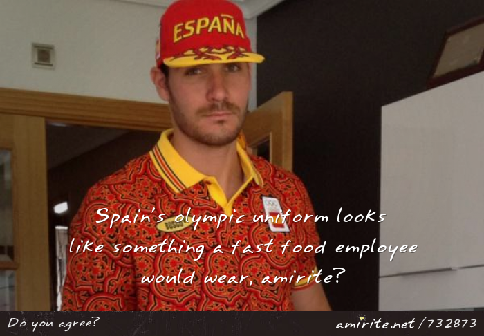 Spain's olympic uniform looks like something a fast food employee would wear, <strong>amirite?</strong>