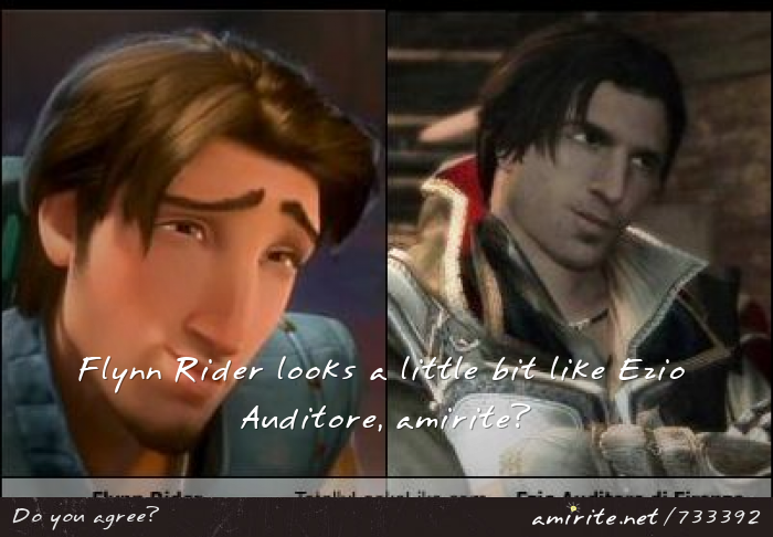 Flynn Rider looks a little bit like Ezio Auditore, <strong>amirite?</strong>