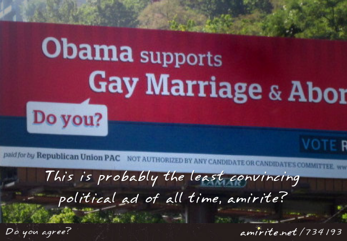The republican billboard ad about Obama supporting gay marriage and abortion is terribly unconvincing, <strong>amirite?</strong>