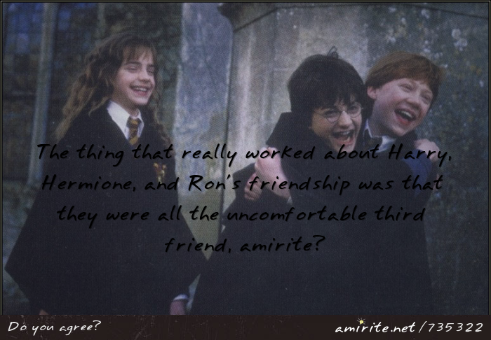 The thing that really worked about Harry, Hermione, and Ron's friendship was that they were all the uncomfortable third friend in different ways, <strong>amirite?</strong>
