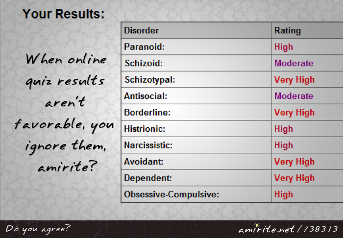 When online quiz results aren't favorable, you ignore them, <strong>amirite?</strong>