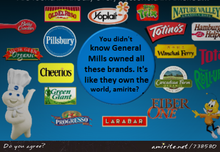 You didn't know General Mills owned all these brands. It's like they own the world, <strong>amirite?</strong>