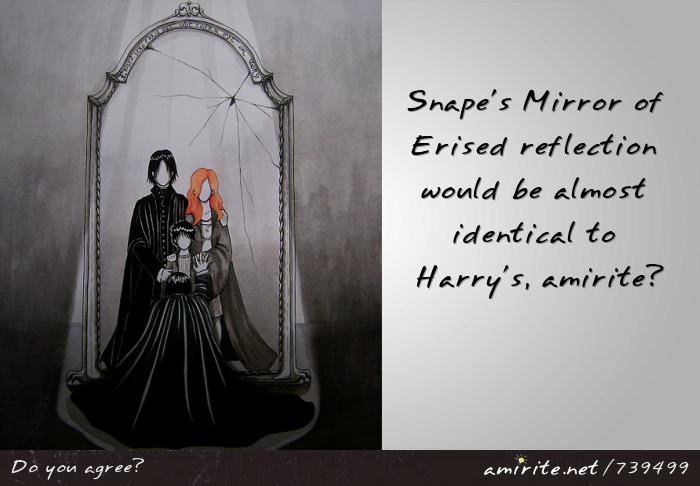 Snape's Mirror of Erised reflection would be almost identical to Harry's, <strong>amirite?</strong>
