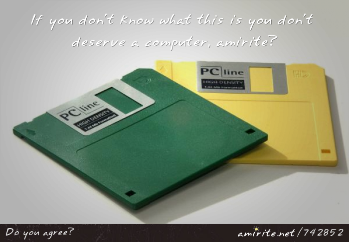 If you don't know what a floppy disc is you don't deserve a computer, <strong>amirite?</strong>