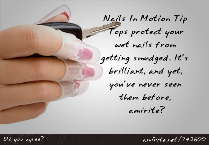 Nails In Motion Tip Tops protect your wet nails from getting smudged. It's brilliant, and yet, you've never seen them before, <strong>amirite?</strong>