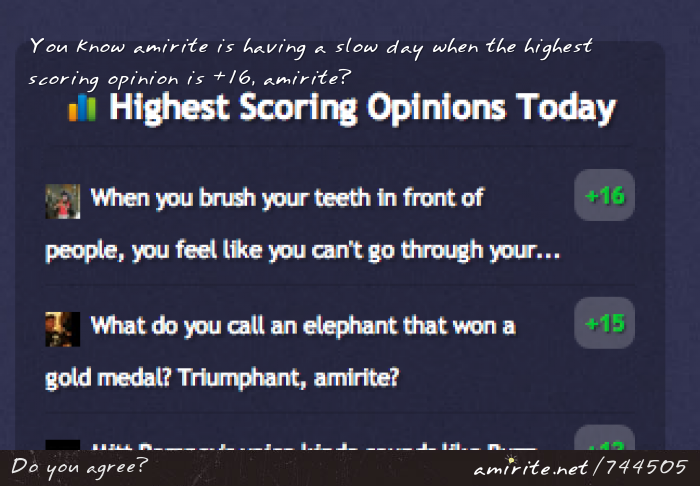 You know amirite is having a slow day when the highest scoring opinion is +16, <strong>amirite?</strong>