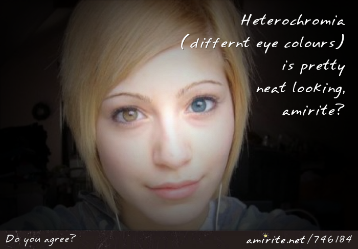 Heterochromia (different eye colours) is pretty neat looking, <strong>amirite?</strong>