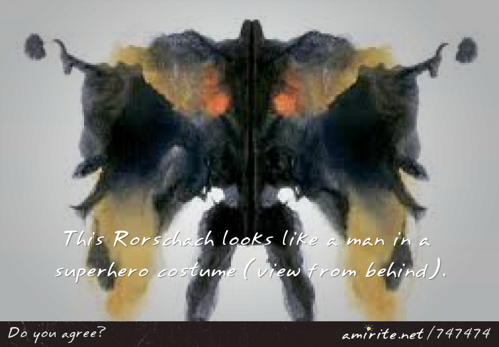 This Rorschach looks like a man in a superhero costume (view from behind).