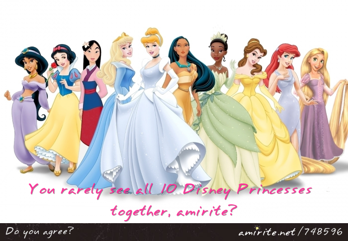 You rarely see all 10 Disney Princesses together, <strong>amirite?</strong>