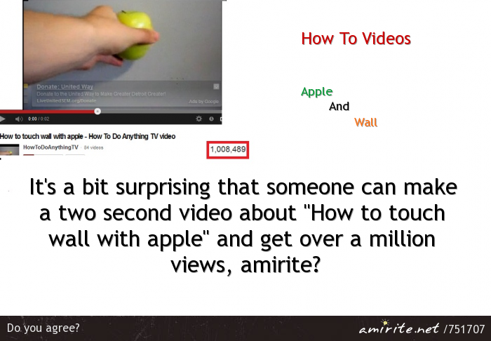 It's a bit surprising that someone can make a two second video about &#34;How to touch wall with apple&#34; and get over a million views, <strong>amirite?</strong>