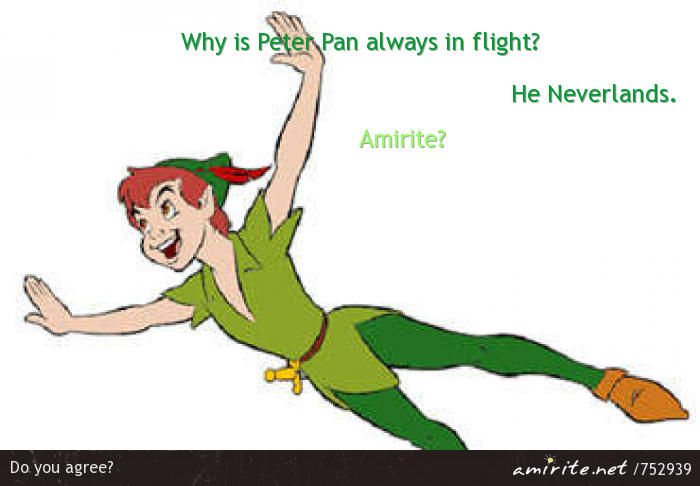 Why is Peter Pan always in flight? He Neverlands. <strong>Amirite?</strong>
