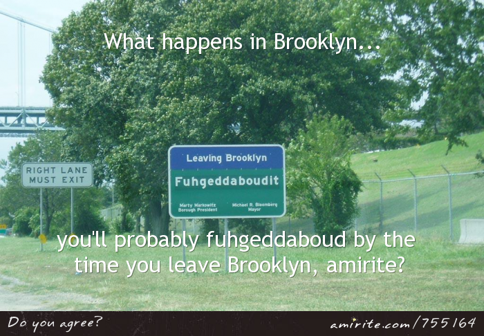 What happens in Brooklyn, you'll probably &#34;fuhgeddaboud&#34; by the time you're gone, <strong>amirite?</strong>