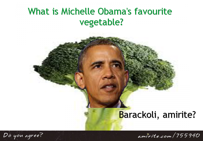What is Michelle Obama's favourite vegetable? Barackoli, <strong>amirite?</strong>