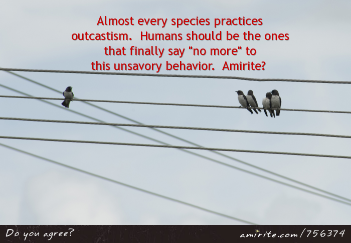 "Almost every species practices outcastism.  Humans should be the one species that finally says ""no more."""