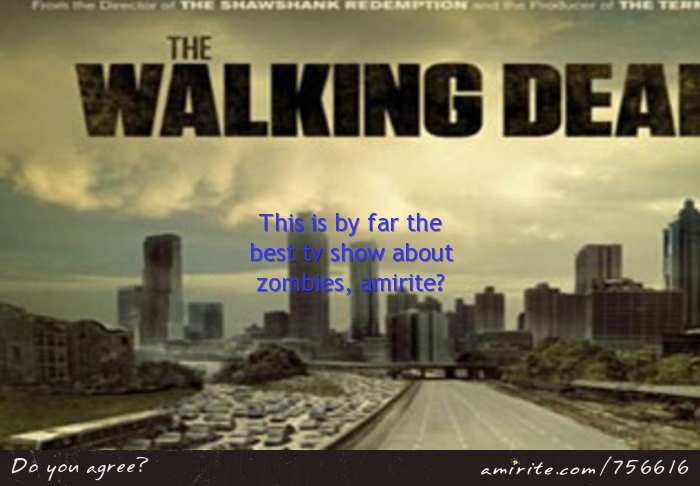 The Walking Dead is by far the best tv show about zombies, <strong>amirite?</strong>