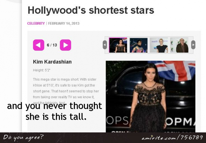 If you try to search of how tall Kim Kardashian is, you'll be surprised to know the details.