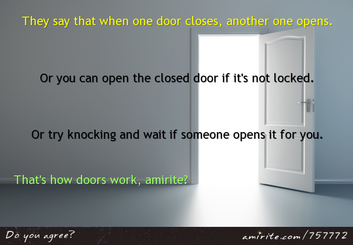 They say that when one door closes, another one opens. Or you can open the closed door if it's not locked. Or try knocking. That's how doors work, <strong>amirite?</strong>