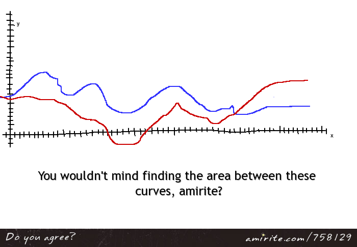 You wouldn't mind finding the area between these curves, <strong>amirite?</strong>