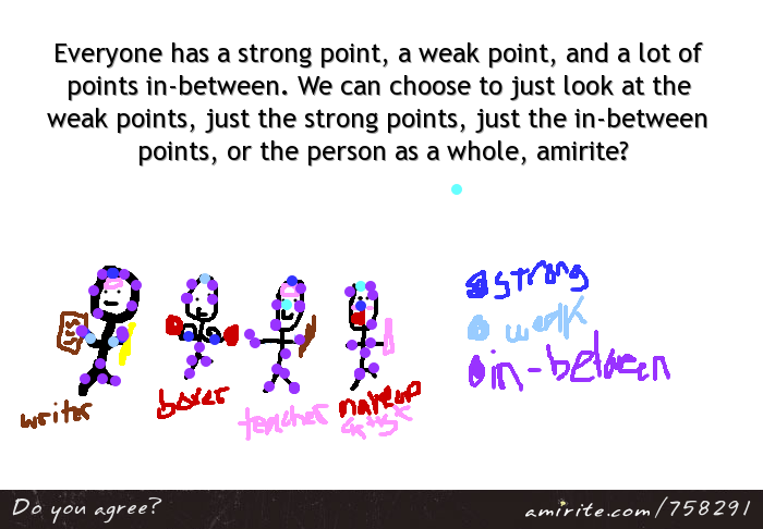 Everyone has a strong point, a weak point, and a lot of points in-between. We can choose to just look at the weak points, just the strong points, just the in-between points, or the person as a whole, <strong>amirite?</strong>