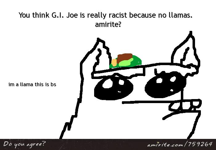 You think G.I. Joe is really racist because no llamas.  <strong>amirite?</strong>