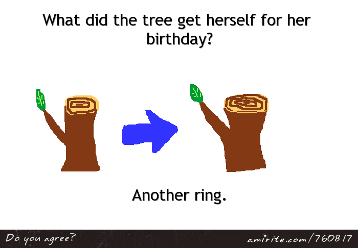 What did the tree get herself for her birthday? Another ring.