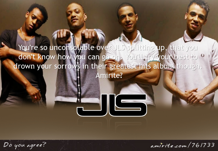 You're so unconsolable over JLS splitting up, that you don't know how you can go on. You'll try your best to drown your sorrows in their greatest hits album though. <strong>Amirite?</strong>