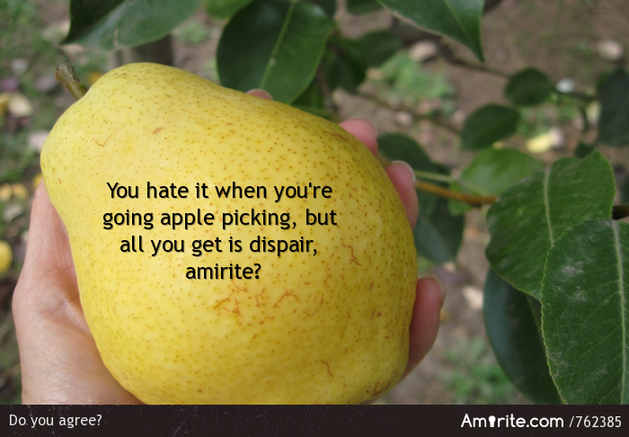 You hate it when you're going apple picking, but all you get is <em>dispair</em>, <strong>amirite?</strong>