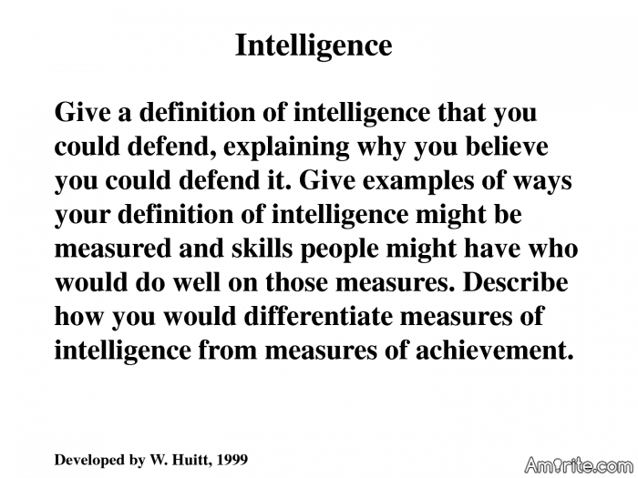 What is your definition of intelligence?