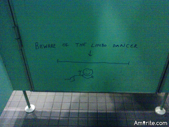 When not looking down, what's the funniest thing you've ever seen in a public restroom?