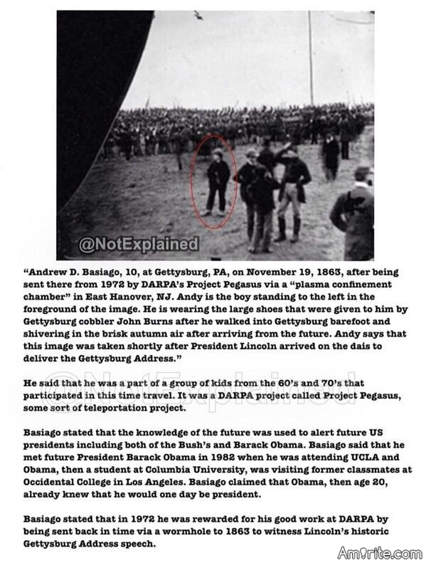 This man claims that he is a time traveller and is in this picture of the Gettysburg Address.