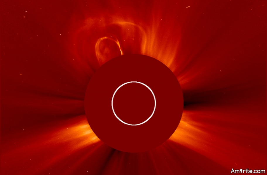 Large CME (solar flare) headed for Earth, arrives today [Saturday].