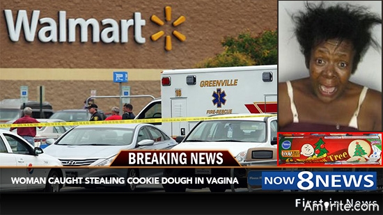 Cookie dough tube explodes in woman's **** during shoplifting incident.