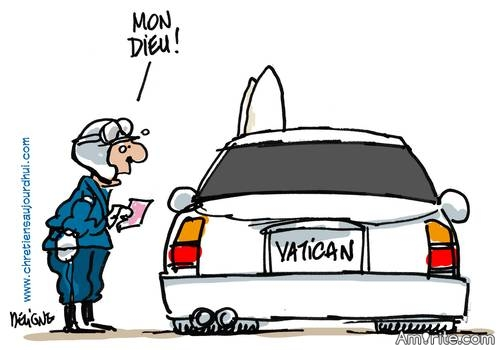 This good old joke is still as hilarious as ever.   Driving Pontiff The Pope goes to New York. He is picked up at the airport by a limousine. He looks at the beautiful car and says to the driver, ''You know, I hardly ever get to drive. Would you please let me?''  The driver is understandably hesistant and says, ''I'm sorry, but I don't think I'm supposed to do that.''  But the pope persists, ''Please?''  The driver finally lets up. ''Oh, all right, I can't really say no to the pope.''  So the pope takes the wheel, and boy, is he a speed demon! He hits the gas and goes around 100 mph in a 45 zone. A policeman notices and pulls him over. The cop walks up and asks the pope to roll down the window. Startled and surprised, the young officer asks the pope to wait a minute. He goes back to his patrol car and radios the chief.  Cop: ''Chief, I have a problem.''  Chief: ''What sort of problem?''  Cop: ''Well, you see, I pulled over this guy for driving way over the speed limit but it's someone really important.''  Chief: ''Important like the mayor?''  Cop: ''No, no, much more important than that.''  Chief: ''Important like the governor?''  Cop: ''Wayyyyyy more important than that.''  Chief: ''Like the president?''  Cop: ''More.''  Chief: ''Who's more important than the president?''  Cop: ''I don't know, but he's got the pope DRIVING for him!''   Link: http://jokes.cc.com/funny-god/hqbym0/the-pope-drives
