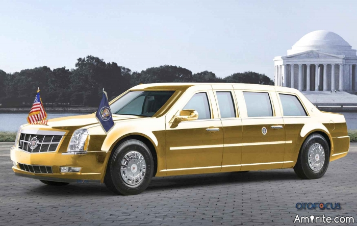President Trump will be driven around in a gold limo.