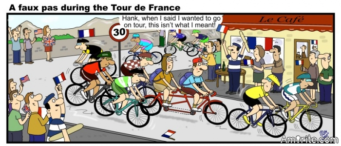 Was this Year's Tour de France Humour inspiring?  <b>*</b>  About Competition <b>*   Contests over long distances,  *  often clash with circumstances,   *  some dramatic, others squeaky,  *  where the eyes get, somehow, leaky.  </b>*   There are unsuspected crashes,  *  sometimes with discordant thrashes ...   *  Excessive speed is dangerous -  *  like quicksands can be treacherous.  <b>*   Some myths around the Tour de France  *  told by insiders, in a trance,  *  portray various tribulations,  *  spiced by wry gesticulations.  </b>*   Mount Ventoux, the toilsome highlight,  *  towers in a moody twilight,  *  veering from dim to malicious,  *  or from eerie to delicious.  <b>*   &#34;Competence&#34; supports the winner,  *  as a guide for the beginner;  *  it takes sometimes a lot of pluck,  *  with know-how, toughness and good luck.  </b>*   But fortune can be facetious  *  and a sideslip expeditious -  *  bang - the champ' plunges, in a glance,  *  with the two wheels losing the &#34;stance&#34;.  <b>*   Dazzled fans could see a rider,  *  dashing uphill - like a strider,  *  giving up a broken racer,  *  to recover the lost &#34;pacer&#34;.  </b>*   Luckily - besides some bruises -  *  there are &#34;spares&#34; for further cruises;  *  contests may involve hard struggles,  *  tragic tears and waggish juggles.  <b>*   M.  </b>***   http://www.bbc.com/sport/cycling/36879128Did