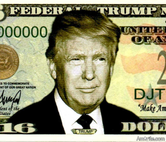 Abe is on the penny; FDR is on the dime; if elected president, The Donald will one day be on the $10,000,000,000 bill.