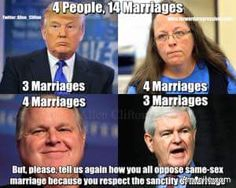 Are folks like Donald Trump and Kim Davis religious phonies when they oppose Gay Marriage yet they condone divorce for their own comfort?