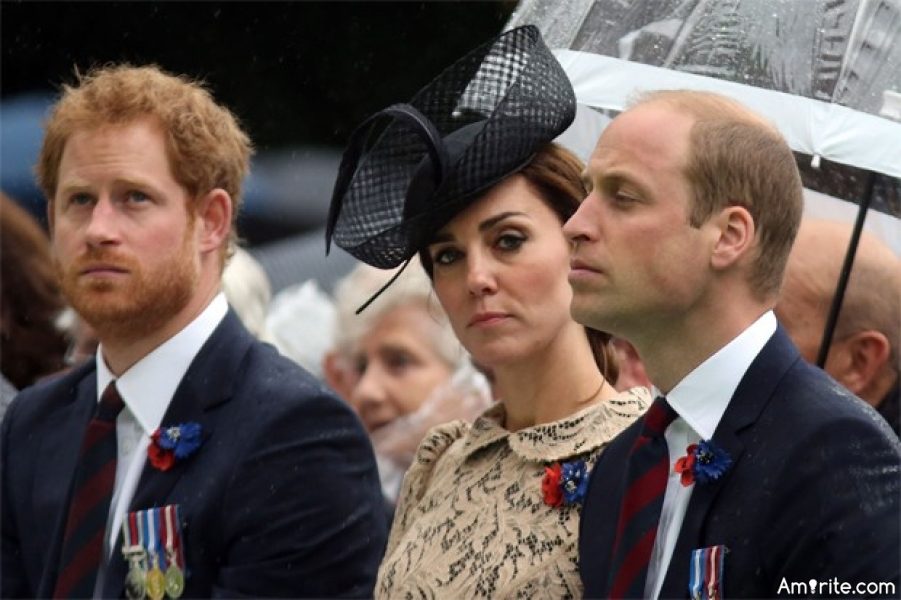 <b>The Duchess of Cambridge looks happiest when accompanied by Princes William and Harry.</b>