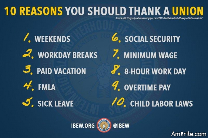 Did you enjoy 'Labor Day'?  For political conservatives it must have been like celebrating Satan's birthday.  A holiday to recognize and honor the role of <em>unions</em> and <em>minimum wages laws</em> in raising the middle class?  Repugs must have boycotted it?  Amirite? Workers of the world unite!