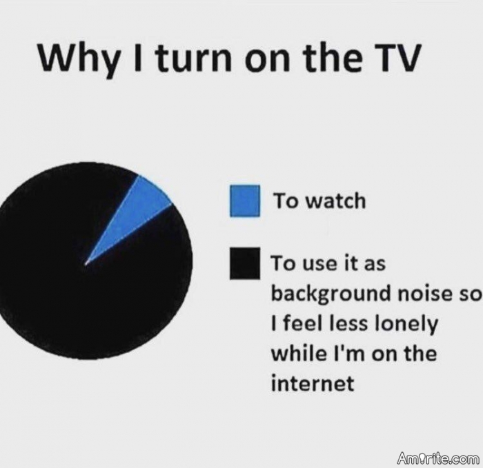 ✯ Why do so many people feel the need to turn on the TV when they are not watching it? ✯