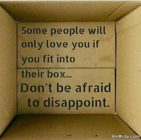 Some people will only love you if you fit into their box...Don't be afraid to disappoint.